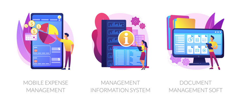 Personal finance control app and data center automation. Mobile expense management, management information system, document management soft metaphors. Vector isolated concept metaphor illustrations