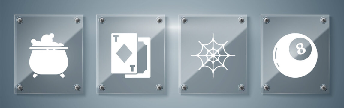 Set Magic ball of predictions, Spider web, Playing cards and Witch cauldron. Square glass panels. Vector.