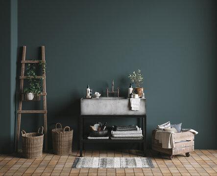 Dark green rustic bathroom, wall mock up, 3D render