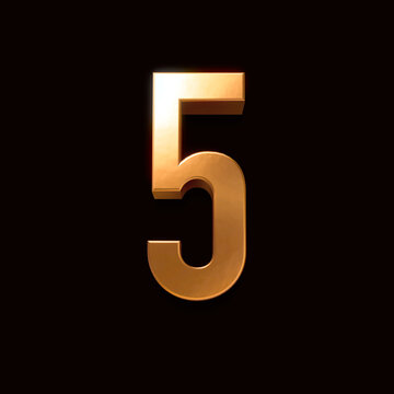 Gold font number 5 isolated on black