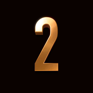 Gold font number 2 isolated on black