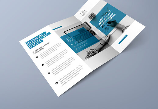 Corporate Clean Trifold Brochure Layout with Blue Accent