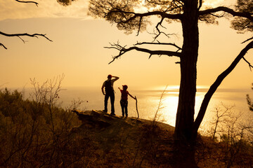 family in a hike