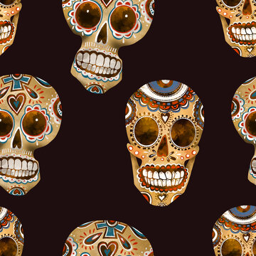 Sugar skull seamless pattern. Day of the dead texture, Cinco de Mayo wallpaper