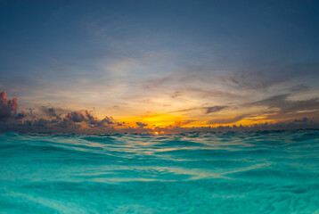 A sunrise shot over the water of the Caribbean Sea