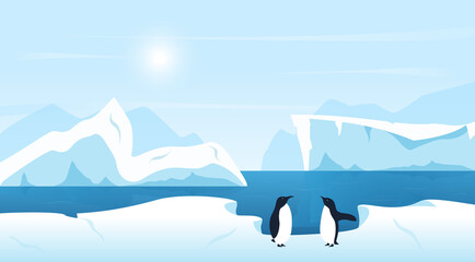 Beautiful Arctic or Antarctic landscape with icebergs and penguins. Cold climate northern icy winter scenic background