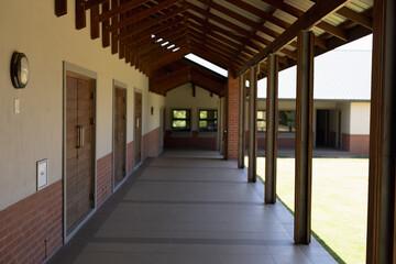 Exterior corridor of an elementary school