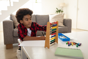 Boy using abacus at home