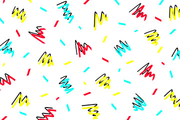 Memphis seamless pattern background, pop art style abstract vector design. Trendy hipster 90's style creative patterns, abstract pink, blue and yellow color icons poster, wallpaper, brochure or banner