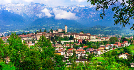 Scenic village Feltre surrounded by Dolomites Alps mountains in norther Italy, Belluno province. Italy