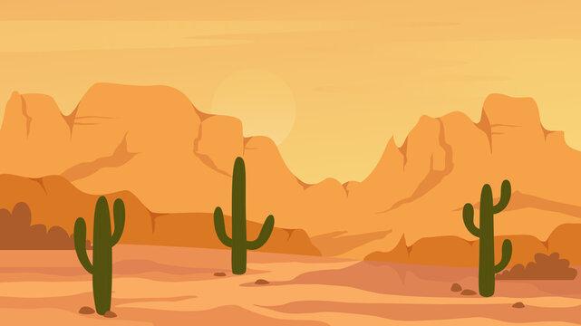 Mexican Texas or Arisona desert nature landscape vector illustration. Cartoon flat dry desert scenery with mountain rocks dunes, cactuses, wild hot natural west prairie scene, wilderness