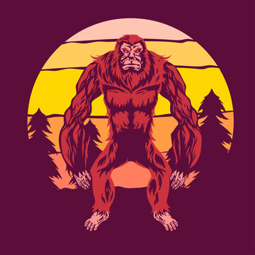 Walking Bigfoot or Sasquatch Vector Illustration with Sunset Background