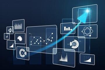 Big data analytics illustration on dark background