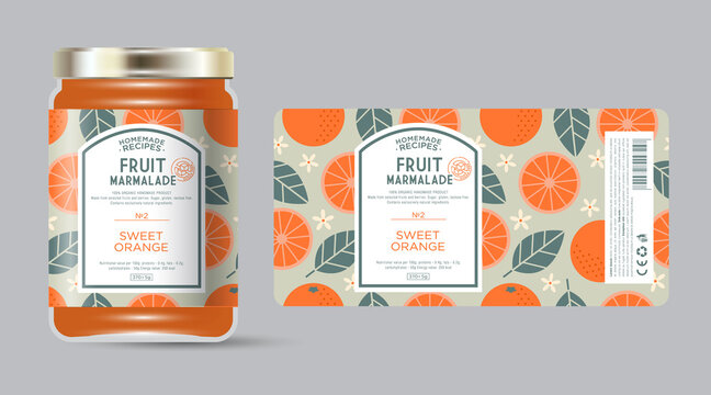 Label and packaging of orange marmalade. Jar with label. Text in frame with stamp (sugar free) on seamless pattern with fruits, flowers and leaves.