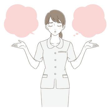 医療・美容 手描き風 制服を着た女性の上半身イラスト表情セット