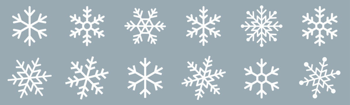 Snowflakes icons set. Snow sign. Snowflakes template. Snowflake winter. Snowflakes icons. Snowflake vector icon on white background.
