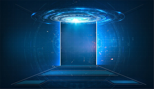 Sci fi tech cyber futuristic design concept background. Door on neon glowing futuristic background. New technologies coming to human life, high-tech. Vector illustration