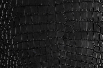Abstract background of seamless crocodile black leather texture