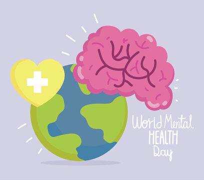 world mental health day, human brain planet heart medical