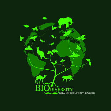 Planet earth with animals and plants for biodiversity