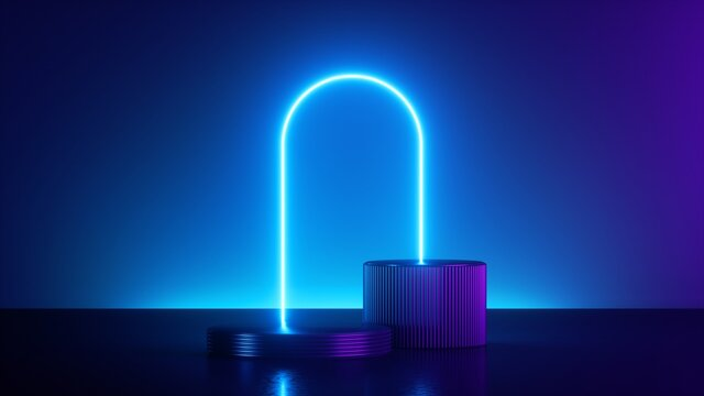 3d render, abstract modern minimal neon background. Shiny frame with copy space. Glowing round arch over cylinder podium, empty performance stage, blank platform for product displaying.