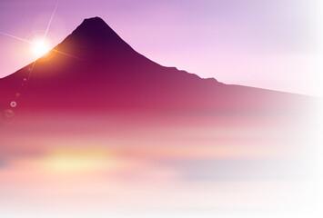 富士山 和柄 年賀状 背景
