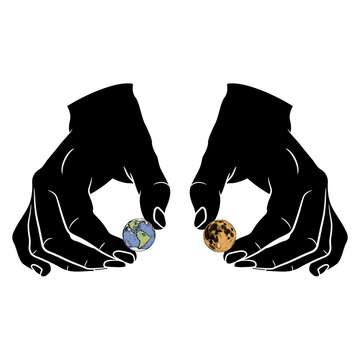 Two human hands holding tiny planets Earth and Moon. Creative concept.