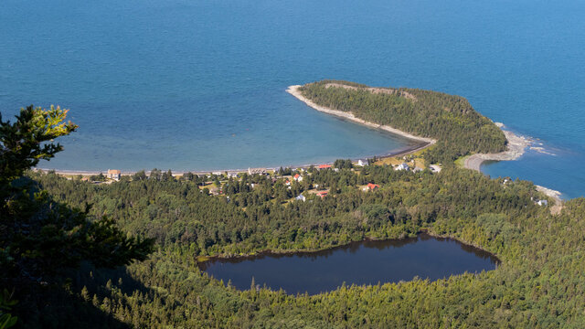 Aerial view of Saint-Fabien-sur-mer, as seen from the Pic Champlain in the Bic national park, Canada