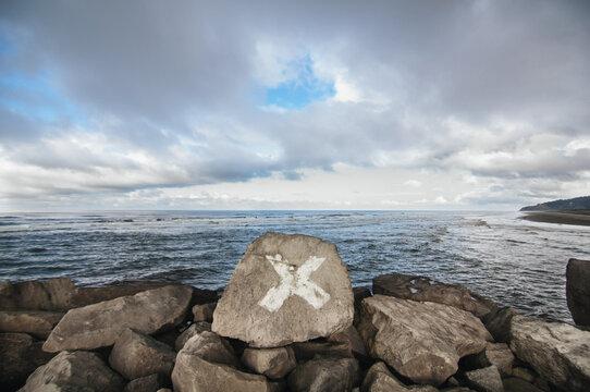 X marks the spot near the Pacific Ocean