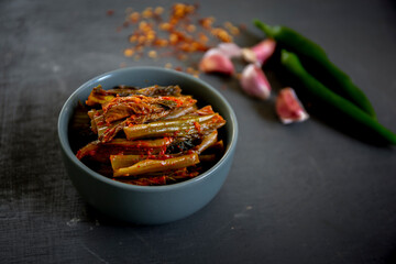 Leaf Mustard Kimchi which is called Dolsan gat kimchi in Korea