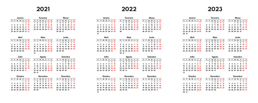 simple 2021 2022 2023 portuguese calendar grid, starts monday, two weekend