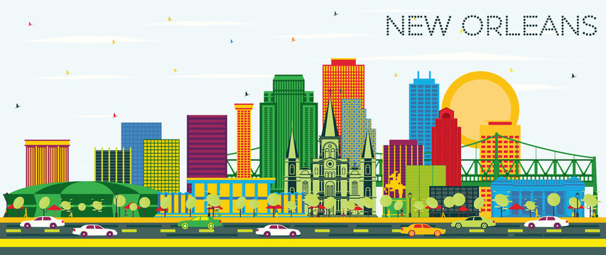 New Orleans Louisiana City Skyline with Color Buildings and Blue Sky.