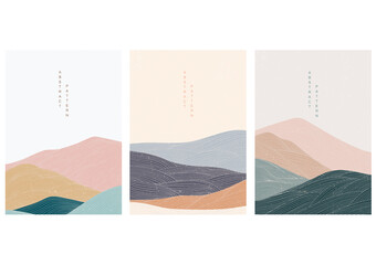 Abstract landscape background with Japanese pattern vector. Mountain template with line elements.
