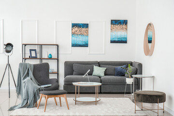 Deurstickers Graffiti collage Stylish interior of living room with grey furniture