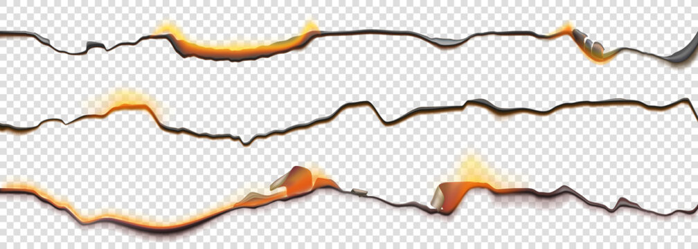 Burn paper borders, burnt page with smoldering fire on charred uneven edges, parchment sheets in flame. Burned, torn or ripped frame isolated on transparent background. Realistic 3d vector objects set