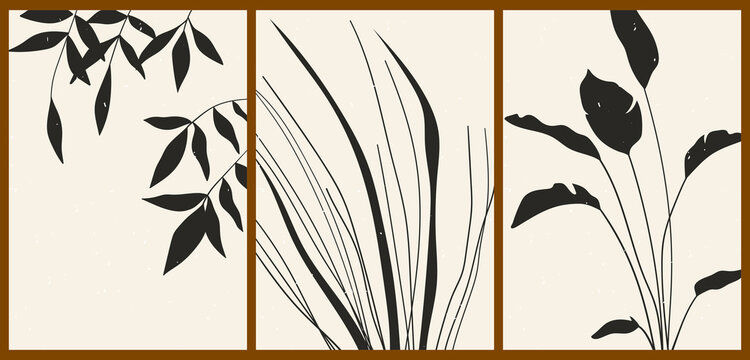A set of three abstract minimalist aesthetic floral illustrations. Black silhouettes of plants on a light background. Modern monochrome vector posters for social media, web design in vintage style.