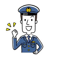 イラスト素材:若い男性警察官、やる気、元気