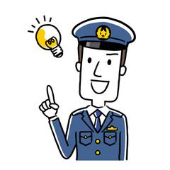 イラスト素材:若い男性警察官、アイデア、思いつく