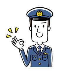 イラスト素材:若い男性警察官、OKサイン