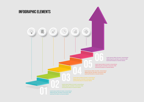 Modern colorful 3d stair infographic elements design with 6 options. steps or processes and marketing can be used for workflow layout and presentation.