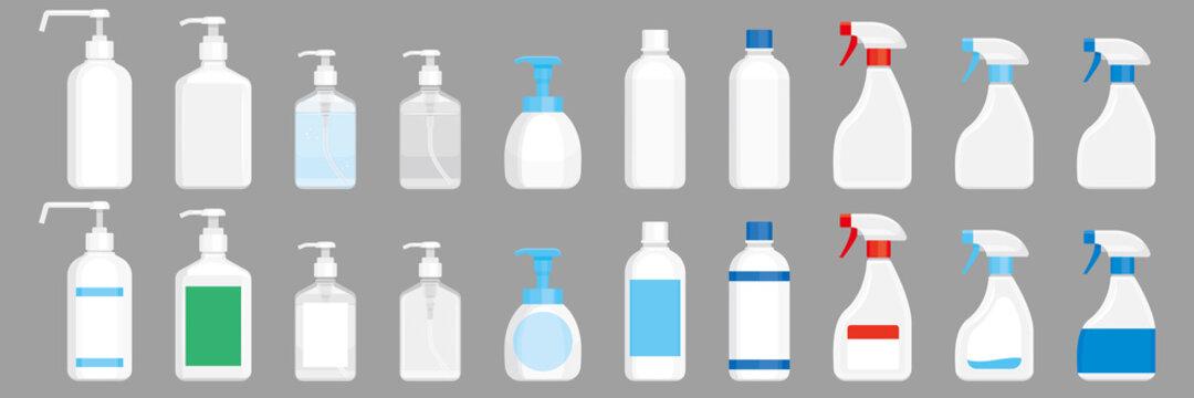 除菌用アルコール、洗剤の容器。スプレー、ボトル、ポンプ。