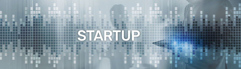 Start up New Business Corporate Concept. Background with silhouettes on the background of the city.