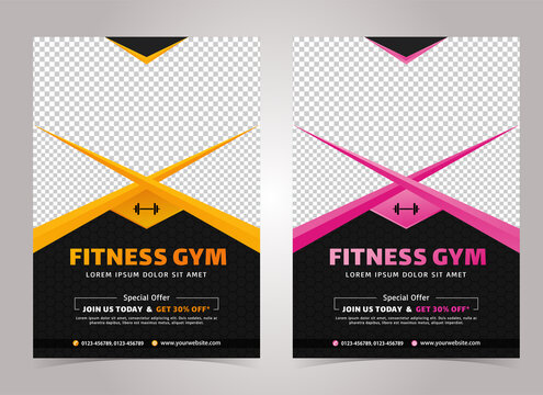Yellow and Pink color Fitness body building and gym flyer A4 size template with Black Background