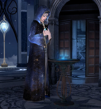 Beautiful fairy ready for an ancient rite in the blue night