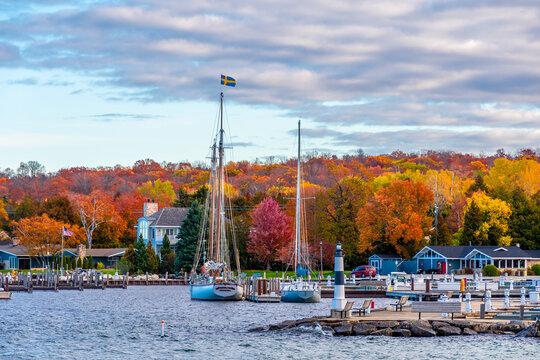 Sister Bay Town harbour view in Door County of Wisconsin