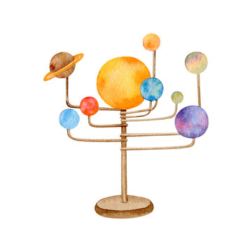 Watercolor solar system model globe