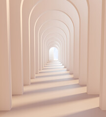 Obraz Archway white architecture. Arches Corridor inside building. 3d rendering - fototapety do salonu