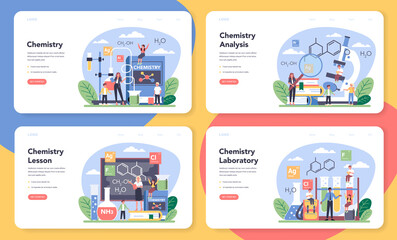 Chemistry studying web banner or landing page set. Chemistry lesson