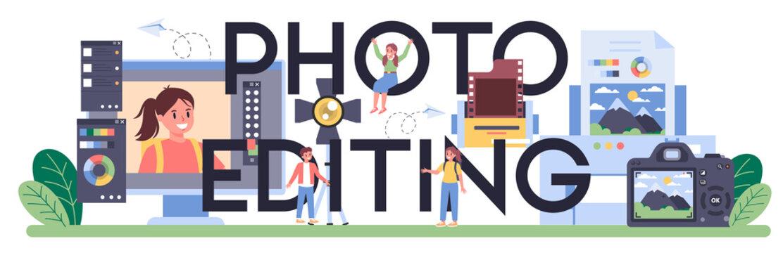 Photo editing typographic header. Professional photographer teaching