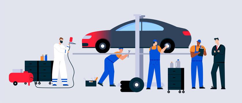 Car service and maintenance scene, technicians team working in garage